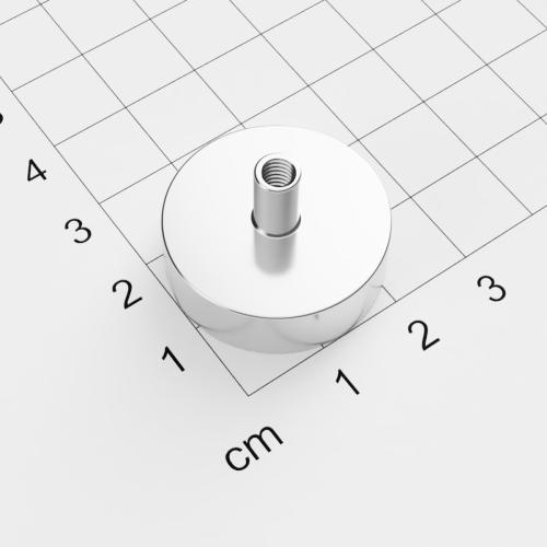Topfmagnet mit Innengewinde, D=25mm, H=8mm, vernickelt, Grade N35, Gewinde M4