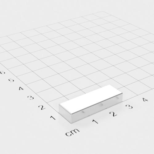 Neodym Quadermagnet, 30x10x5mm, vernickelt, Grade N45