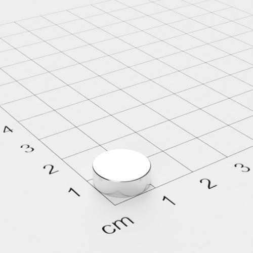 Neodym Scheibenmagnet, 12x4mm, vernickelt, Grade N45