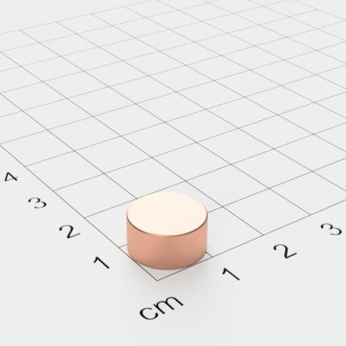 Neodym Scheibenmagnet, 12x6mm, verkupfert, Grade N45