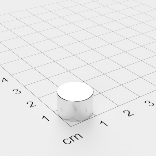 Neodym Scheibenmagnet, 12x8mm, vernickelt, Grade N45