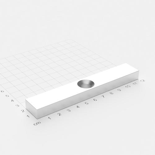 Neodym Quadermagnet mit Bohrung und Senkung, 120x20x10mm, 10.5mm Bohrung, vernickelt, Grade N45