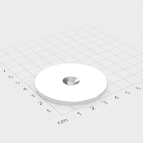 Metallscheibe 50x3mm mit Bohrung und Senkung - Haftgrund