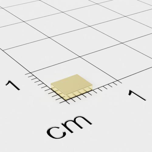 Neodym Quadermagnet, 5x4x1mm vergoldet, Grade N50