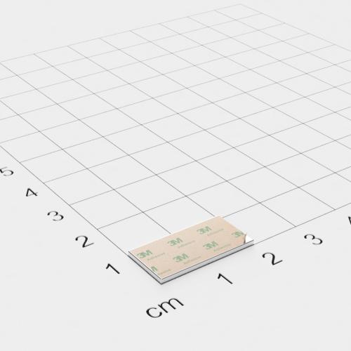 Neodym Quadermagnet, 20x10x1mm, vernickelt, selbstklebend, Grade N35 - Anziehend