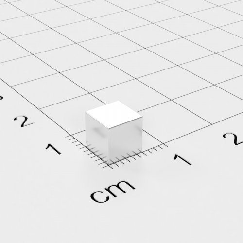 Neodym Würfelmagnet, 6x6x6mm, vernickelt, Grade N45