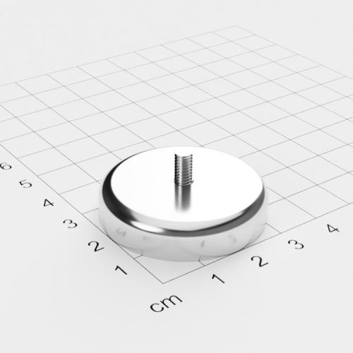 Topfmagnet mit Außengewinde, D=36mm, H=8mm, vernickelt, Grade N35, Gewinde M4