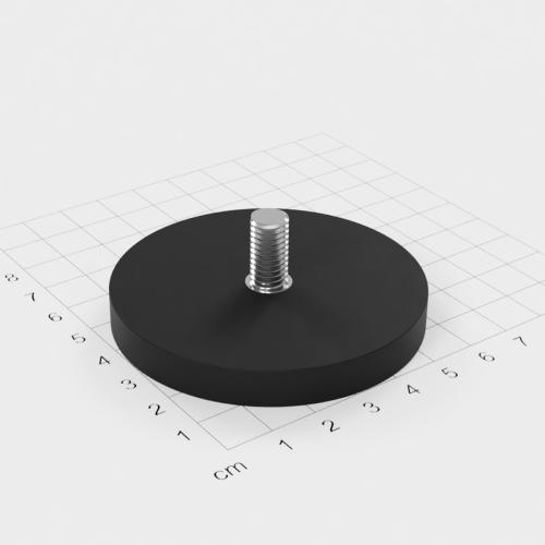 Magnetsystem mit Außengewinde, D=66mm, H=8.5mm, gummiert, Grade N35, Gewinde M8