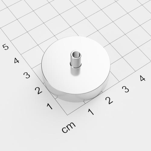 Topfmagnet mit Innengewinde, D=32mm, H=8mm, vernickelt, Grade N35, Gewinde M4