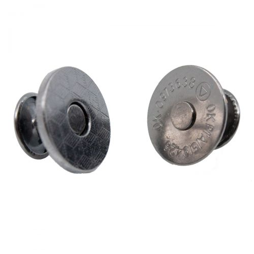 Magnetverschluss mit Nieten grau/ Durchmesser 18mm - Grau