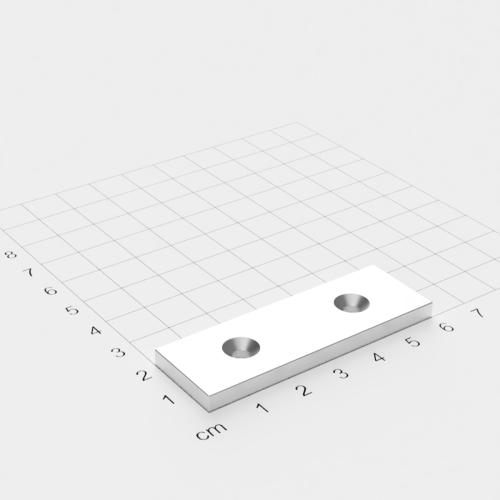 Neodym Quadermagnet mit Bohrung und Senkung, 60x20x4mm, 2x4mm Bohrung, vernickelt, Grade N35