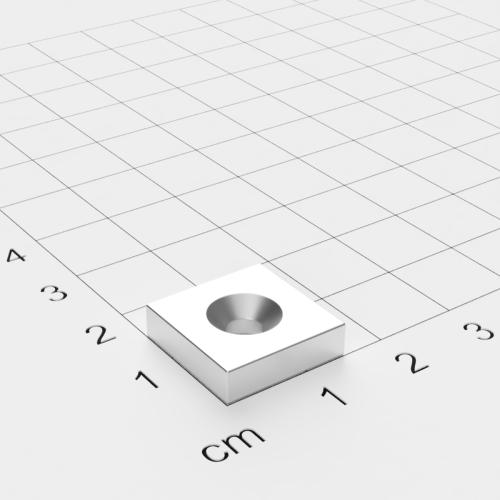 Neodym Quadermagnet mit Bohrung und Senkung, 15x15x4mm, 4mm Bohrung, vernickelt, Grade N35