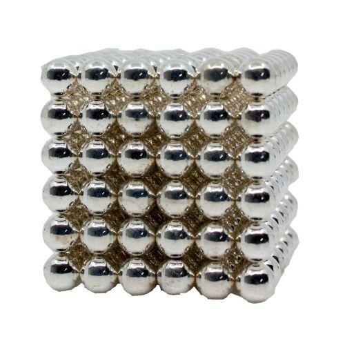 Neocube aus 5 mm Magnetkugeln - Set mit 216 Kugeln zum Würfel geformt -Silber