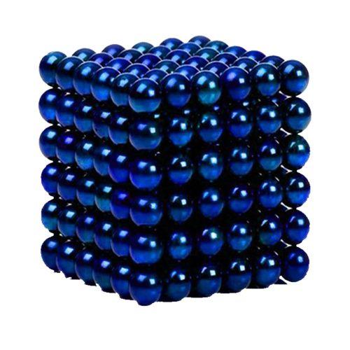 Neocube aus 5 mm Magnetkugeln - Set mit 216 Kugeln zum Würfel geformt -Blau