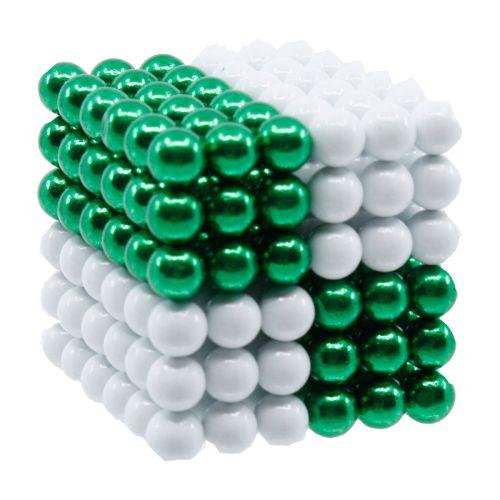 Neocube aus 5 mm Magnetkugeln - Set mit 216 Kugeln zum Würfel geformt -Grün-Weiß