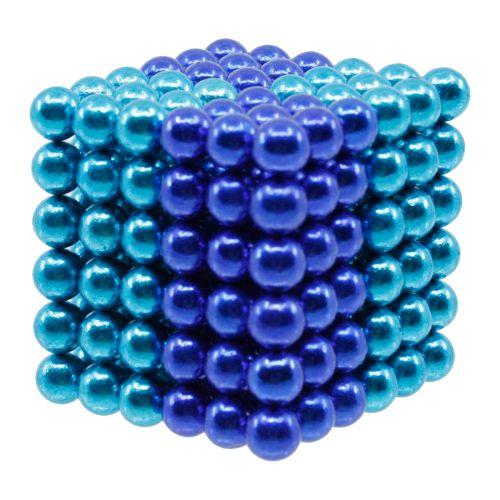 Neocube aus 5 mm Magnetkugeln - Set mit 216 Kugeln zum Würfel geformt -Hellblau-Blau