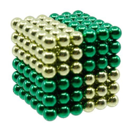 Neocube aus 5 mm Magnetkugeln - Set mit 216 Kugeln zum Würfel geformt -Hellgrün-Grün