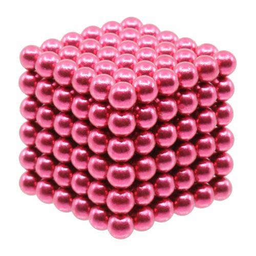 Neocube aus 5 mm Magnetkugeln - Set mit 216 Kugeln zum Würfel geformt -Pink