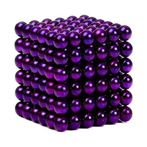Neocube aus 5 mm Magnetkugeln - Set mit 216 Kugeln zum Würfel geformt -Lila