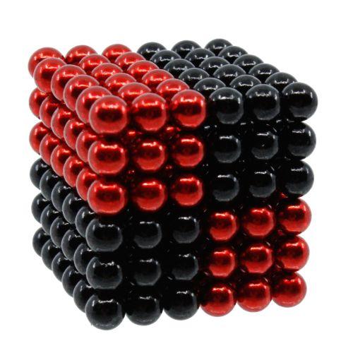 Neocube aus 5 mm Magnetkugeln - Set mit 216 Kugeln zum Würfel geformt -Rot-Schwarz
