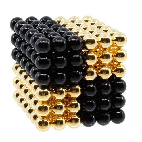 Neocube aus 5 mm Magnetkugeln - Set mit 216 Kugeln zum Würfel geformt -Schwarz-Gold