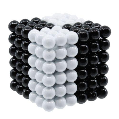 Neocube aus 5 mm Magnetkugeln - Set mit 216 Kugeln zum Würfel geformt -Schwarz-Weiß