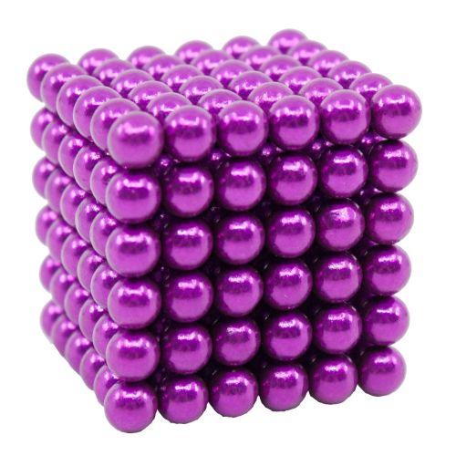 Neocube aus 5 mm Magnetkugeln - Set mit 216 Kugeln zum Würfel geformt  -Violett