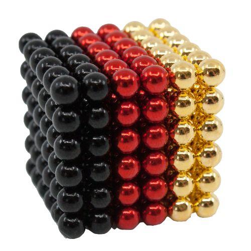 Neocube aus 5 mm Magnetkugeln - Set mit 216 Kugeln zum Würfel geformt -Schwarz-Rot-Gold